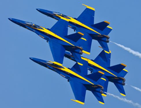 Blue Angels jets flying in formation
